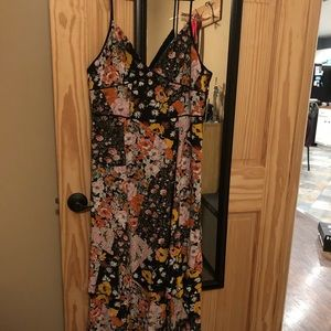 NWT Lulu's patchwork maxi dress